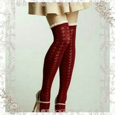 (BOGO)✨ HP✨BURGUNDY OVER THE KNEE SOCKS    ADORABLE  BURGUNDY COLOR OVER THE KNEE SOCKS TRIMMED IN  CREAM  CROCHET TOPS. LOVE THESE SO CUTE FOR ALL SKIRTS & DRESSES. EVEN  OVER  JEANS & YOGA PANTS. LOVE  LAYERS,  MIX N MATCH FOR DIFFERENT  LOOKS.. ❌ DO  DO NOT PURCHASE THIS LISTING❌  ( I HAVE 2 PAIR AVAILABLE ) WILL MAKE  A SEPARATE  LISTING  FOR  YOU ✔( L8) ✨✨HP WINTER ESSENTIALS  PARTY 12/ 14/ 15 ✨✨ BOTIQUE  Accessories Hosiery & Socks
