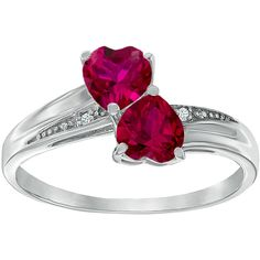 Lab-Created Ruby and Diamond-Accent Sterling Silver Double-Heart Ring ($87) ❤ liked on Polyvore featuring jewelry, rings, diamond accent rings, sterling silver rings, heart shaped ruby ring, ruby jewellery and ruby jewelry