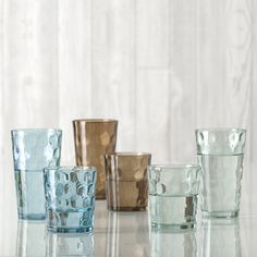 Impressionista Glassware Collection by Shiraleah in clear, blue and smoke.