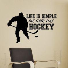 Life Is Simple Eat Sleep Play Hockey Wall Stickers Home Decor Living Room Wall Decorative Art Murals X252 $5.89
