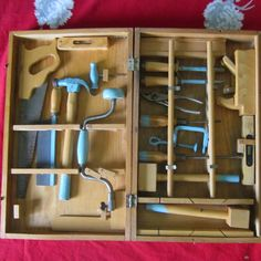 Vintage Handy Andy Carpenters Tool Chest Deluxe And Complete Tool Set