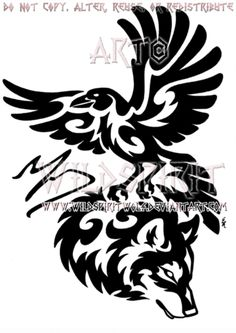 This is 's completed commission of a tribal raven and wolf. I do apologize for the obnoxious watermarks but they have been put in place to help cut. Tribal Raven And Wolf Memorial Design Tribal Wolf Tattoo, Wolf Tattoos, Animal Tattoos, Tribal Art, Body Art Tattoos, Tatoos, Tribal Drawings, Native Tattoos, Viking Tattoos
