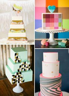 forme geometriche per una torta nuziale moderna