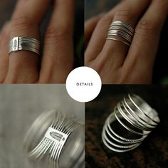 10 Candy twists silver stacking rings