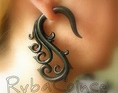 Fake gauges/Gauge earrings/Tentacle plug/tentacle earrings /spiral gauge/ fake piercing