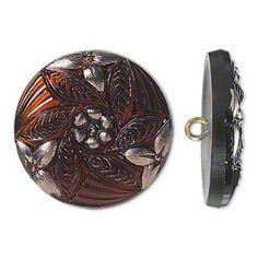Czech glass and brass button