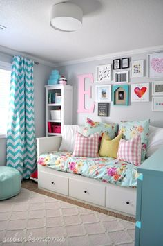 -Storage, Curtains, Wall Color, Hangings on walls, & shelves-Teen Girl's Room Reading Nook