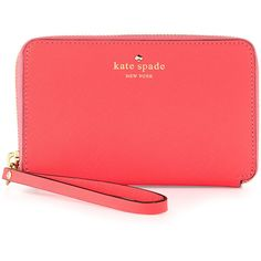 kate spade new york cherry lane laurie wristlet wallet, surprise coral ($103) ❤ liked on Polyvore featuring bags, wallets, accessories, clutches, sac, coral wallet, red bag, wristlet wallet, cherry bag and kate spade