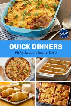 The kids are hungry and they're hungry NOW. Lucky for yo u, these kid-requested recipes all prep in 20 minutes or less. Crockpot Recipes, Chicken Recipes, Cooking Recipes, Healthy Recipes, Cooking Games, Pillsbury Recipes, Snacks, Quick Meals, Easy Dinners