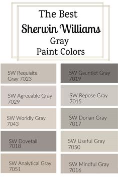 The Best Sherwin Williams Gray Paint Colors. With so many Sherwin Williams gray paint colors, how do you choose one? I went ahead and found the best of the best to share with you. Sherwin Williams Grau, Sherwin Williams Agreeable Gray, Gauntlet Gray Sherwin Williams, Sherwin Williams Gray Paint, Functional Gray Sherwin Williams, Modern Gray Sherwin Williams, Dovetail Sherwin Williams, Sherwin Williams Amazing Gray, Sherwin Williams Alpaca