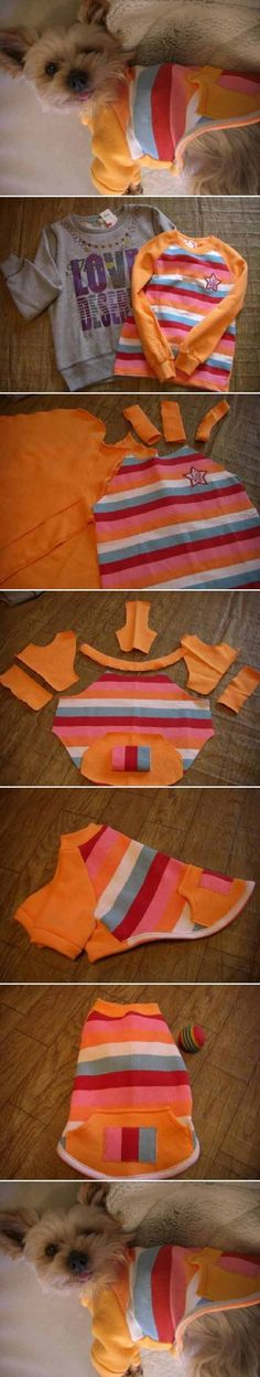 DIY Sweater Dog Clothes - 12 DIY Dog Clothes and Coats | How To Make Cute Outfits For Your Furry Pet by DIY Ready at http://diyready.com/diy-dog-clothes-and-coats/