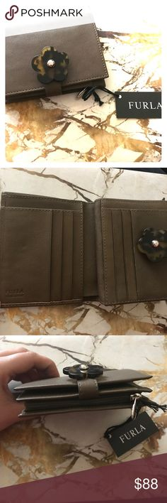 Never Used Olive Green Leather Furla Wallet!!💕 8 card holder/coin purse.  With tortoise shell Flower button. Furla Accessories Key & Card Holders