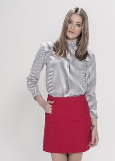 """Red A-line Texture Skirt. Material: 100% Cotton. Model wears UK size S and her height is 5ft 8"""" - www.froww.com"""