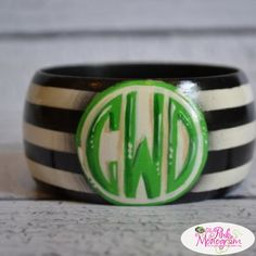 Monogrammed Hand Painted Preppy Stripe Bangle Bracelet  from The Pink Monogram