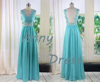 see through back A-line Natural Floor-Length V-neck green lace prom dresses
