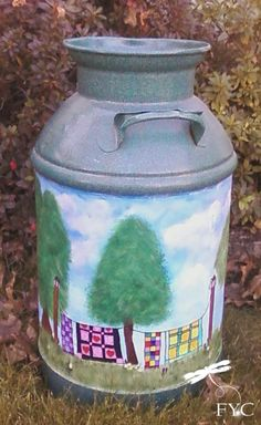 Milk can makeover theme ideas - quilts on a clothesline paint project