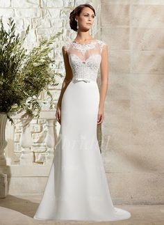 Wedding Dresses - $150.39 - Sheath/Column Scoop Neck Sweep Train Chiffon Tulle Wedding Dress With Lace Bow(s) (0025058295)