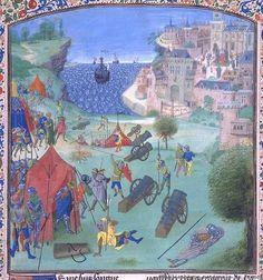 Castilians besiege Lisbon in 1384. Chroniques de Froissart. Bibliothèque Nationale de France, BNF 2645, Fol. 0049