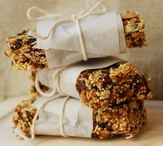 Sweet idea to wrap snacks such as granola bars. Wax paper and twine would also be nice.