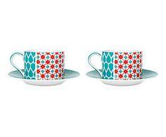 2 Tasses à thé et 2 sous-tasses, porcelaine - bleu et rouge