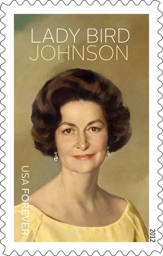 Lady Bird Johnson commemorative stamp  (lovely photo)