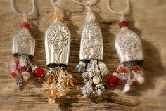 kimmykats: Leftovers...pretty fabulous too!   Amulet of beaded dangles from silverware handles!
