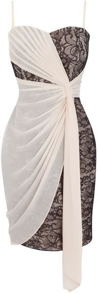 half-half draped white & lace