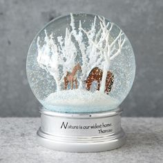 """Horse Whispers Snow Globe  """"Nature is our widest home."""" Thoreau's words underscore the beauty of mother and foal wandering through the snowy stillness of wintry woods. Boxed for gift giving. 3-1/2"""" Dia. x 5""""H."""