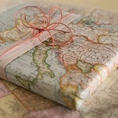 Use a map for wrapping paper.