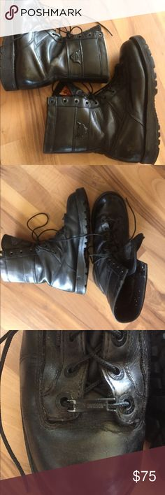 Harley Davidson Riding Boots Beautiful black leather Harley Davidson boots. Have been worn but have lots of life left. Sole is in great condition, some wear on the leather but consider them broken in! Would fit a women's 10-1/2 as well! Harley name on tongue, side of both boots, on the last shoe lace and also inscribed in each shoe lace hole. Harley-Davidson Shoes Boots