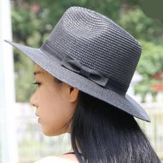 Black bow panama hat for ladies UV summer wide brimmed sun protection hats 181433f906a7