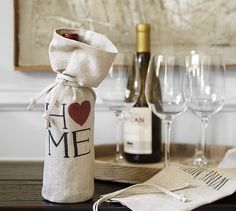 Sentiment Wine Bag- monogramed with initials or saying