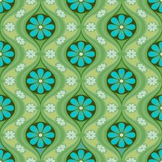 Daisy in Sea of Green wallpaper from Bradbury & Bradbury. Not for my current house!