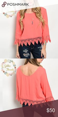  Coral Crochet Top 3/4 Sleeves Coral Crochet Top 3/4 Sleeves Sizes : S  M  L  Small Sold out.  Available :  Medium Large Tops Blouses