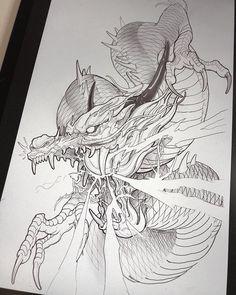 Chinese Dragon Drawing, Dragon Tattoo Drawing, Koi Dragon Tattoo, Small Dragon Tattoos, Japanese Dragon Tattoos, Japanese Tattoo Art, Japanese Tattoo Designs, Japanese Sleeve Tattoos, Lion Tattoo
