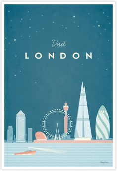 Vintage travel poster of London's iconic skyline at night. Original London vintage travel poster by Henry Rivers. Buy a premium art print! Retro Poster, Vintage Travel Posters, Vintage London, Wall Art Prints, Poster Prints, Canvas Prints, Tattoo Italy, City Poster, Kunst Poster