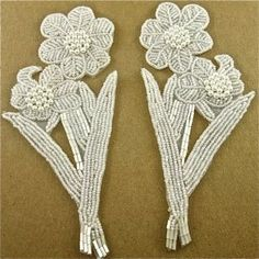 """Flower Pair with Iridescent Beads 7"""" x 3.5"""""""