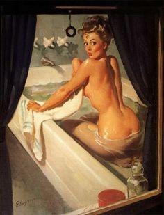 A delightfully scandalous Pin Up Illustration!:: Bathtub Pin Up:: Vintage Pin Up Artwork