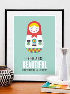 Matryoshka quote art, colorful nursery decor motivational print russian doll love, positive art, you are beautiful inside and out 8x10 or a4
