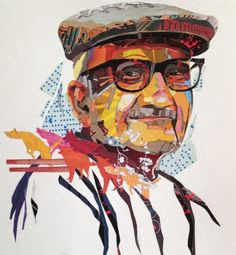 PATRICK BREMER   collage artist This is a portrait of an old man. Breyer has used warm colours for the mans face and has light blue patterns and shapes around the face which contrasts with the warm colours. What I like about the portrait is the striking warm colours and that the artists has incorporated animals which adds confusion.