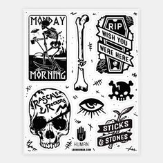 Skeletal Stickers #art #decor #design #stickers #fun #trendy #skulls #spooky #dark #bones #metal #death #RIP