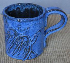 Stoneware Large Coffee MUG Beetle Design in BLUE by LisaMelitaArt, $22.50