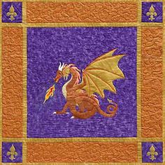 """Dragonfire Applique Quilt Pattern by Needlesongs  At last! This fusible appliqué pattern presents a portrait of the most magnificent creature ever known to legend, the medieval fire-breathing dragon. Use the pattern to make the 36"""" square wall hanging or follow included suggestions to create a pointed banner. Pattern $10."""