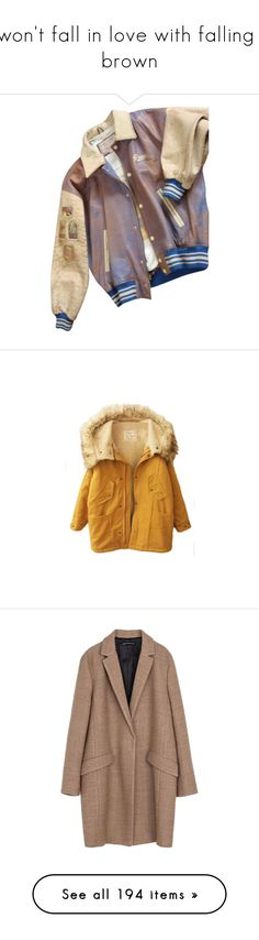 """""""I won't fall in love with falling // brown"""" by electrasullivan ❤ liked on Polyvore featuring outerwear, jackets, tops, coats & jackets, cream, cream jacket, guess by marciano, distressed leather jacket, brown leather jacket and patch leather jacket"""