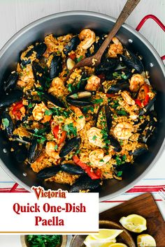 Make dinner and clean up easy with this one-dish seafood Paella recipe. Find more tips and tricks on our site. Seafood Paella Recipe, Seafood Dinner, Seafood Recipes, Fish Recipes, Mexican Food Recipes, Recipies, Slow Cooker Recipes, Cooking Recipes, Healthy Recipes