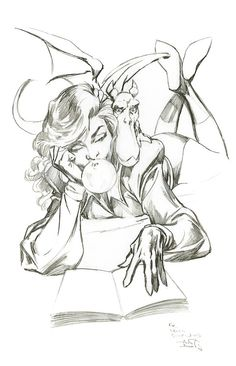 Kitty Pryde and Lockheed sketch by Alan Davis for artist Leinil...