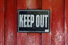 KEEP OUT signs are zombie party essentials.