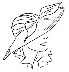 Embroidery Pattern from 1940's Wide Brim Hat 2-piece hand-drafted pattern originally by Ladies' Home Journal. jwt