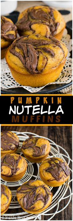 Nutella Muffins - soft pumpkin muffins with a chocolate swirl makes a de. - food - Pumpkin Nutella Muffins - soft pumpkin muffins with a chocolate swirl makes a de. Pumpkin Recipes, Fall Recipes, Holiday Recipes, Delicious Breakfast Recipes, Dessert Recipes, Yummy Food, Brunch, Nutella Muffins, Chocolate Muffins