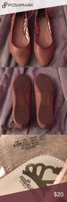 Fergalicious by Fergie flat. Beautiful tan flat with rhinestones along the sides, worn once. Fergie Shoes Flats & Loafers